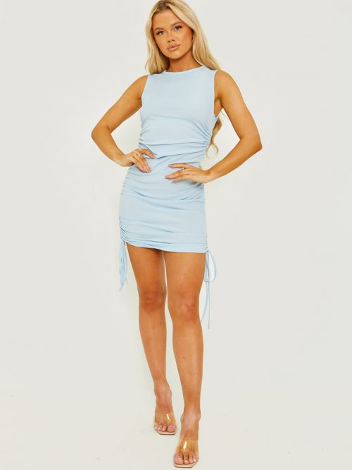 Silvana Sleeveless Ribbed Ruched Dress In Blue
