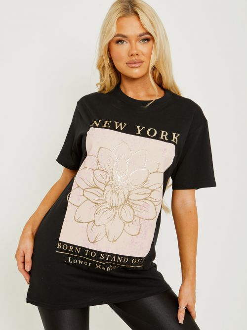Tory Glitter Flower Graphic Printed T-Shirt In Black