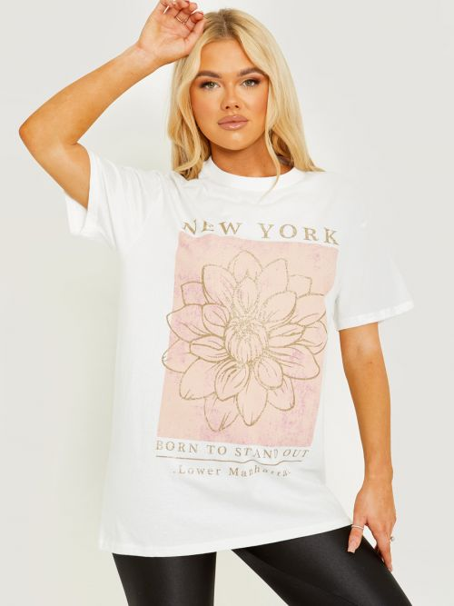 Tory Glitter Flower Graphic Printed T-Shirt In White