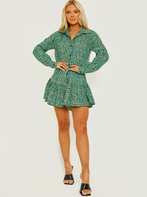 Naylla Ditsy Floral Frill Hem Buttoned Shirt Dress In Green