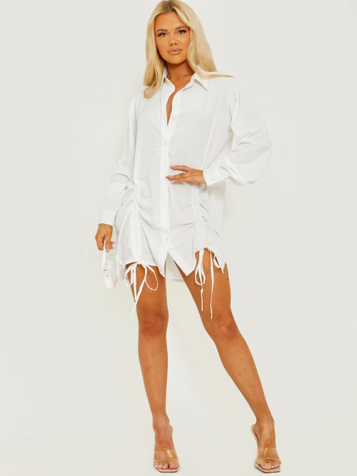 Khalie Tunnel Tie Ruched Buttoned Shirt Dress In White