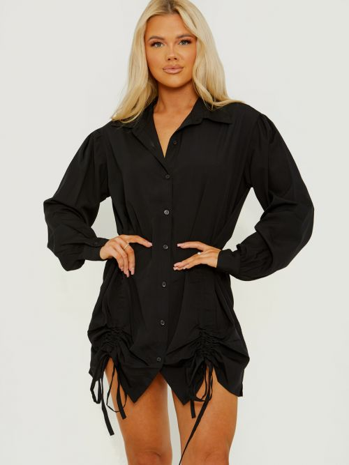 Khalie Tunnel Tie Ruched Buttoned Shirt Dress In Black