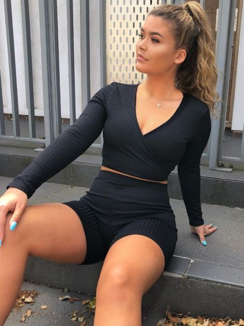 Lily Ribbed Crop Top & Cycling Shorts Co-ord In Black