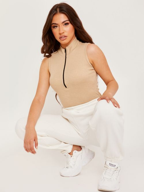Becka Thick Ribbed Zip Detail Bodysuit In Stone