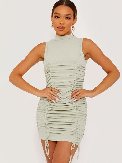 Leyla Sleeveless Ribbed Ruched Dress In Green