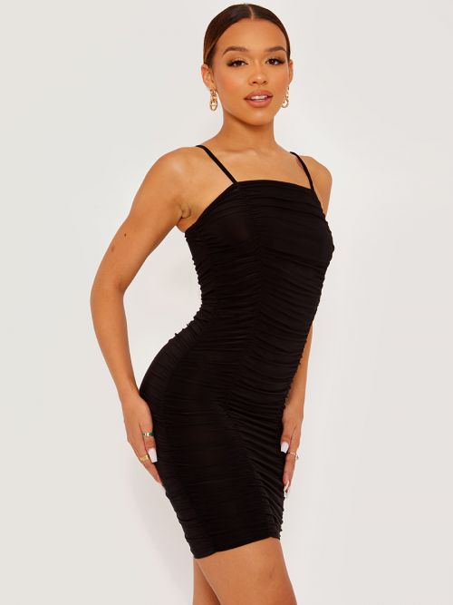 Amy Slinky Ruched Cami Dress In Black