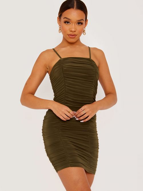 Amy Slinky Ruched Cami Dress In Olive
