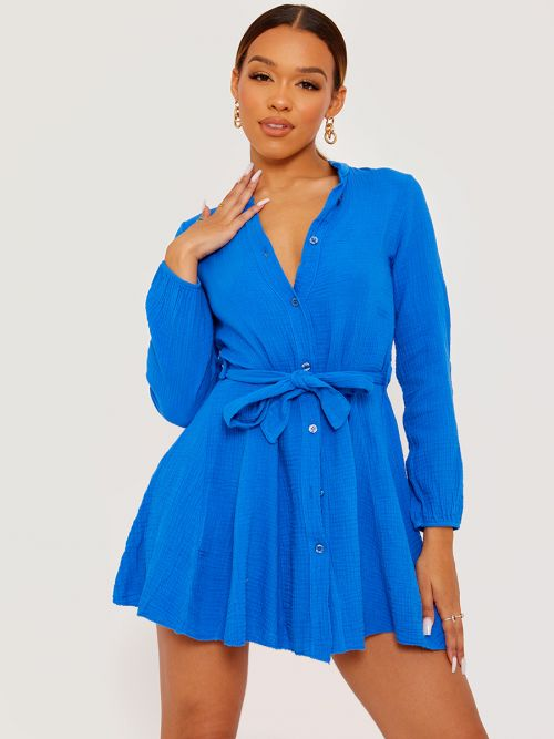 Samantha Self Tie Knot Belted Shirt Dress In Royal