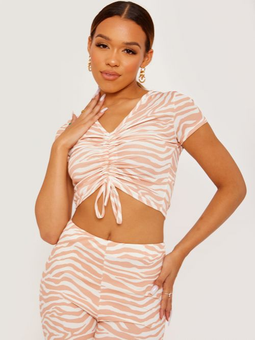 Daina Zebra Print Ruched Front Ribbed Crop Top In Nude