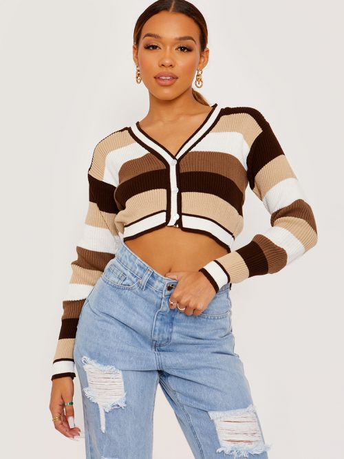 Maraya Striped Knitted Cropped Cardigan In Brown