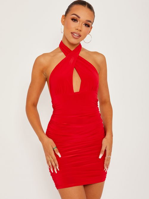 Naya Cross Front Slinky Halter Ruched Dress In Red