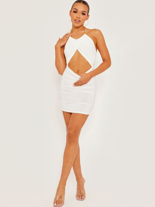 Louisa Chain Halter Cut Out Front Slinky Ruched Dress In Cream