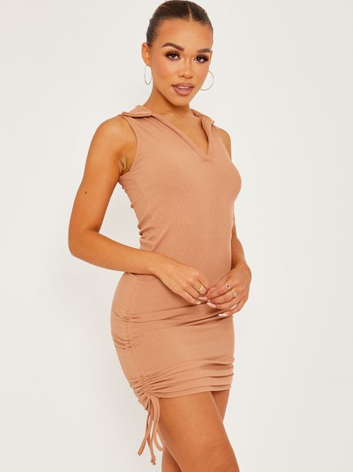 Alectra Plunge Collar Neck Ribbed Ruched Dress In Stone