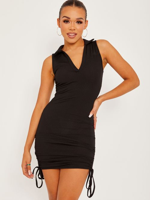 Alectra Plunge Collar Neck Ribbed Ruched Dress In Black