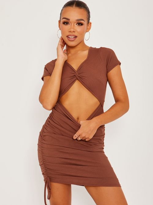 Eliza Cut Out Twist Front Ruched Ribbed Dress In Brown