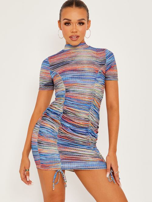 Fiion Multi Coloured Ribbed Ruched Dress In Blue