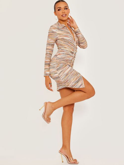 Nayra Button Fasten Front Multi Coloured Ruched Dress In Orange