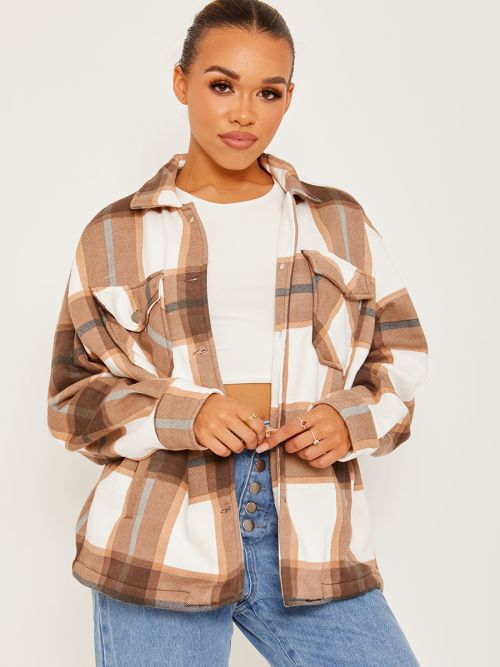 Colette Classic Thick Colour Block Checked Shirt Jacket Shacket In Chocolate