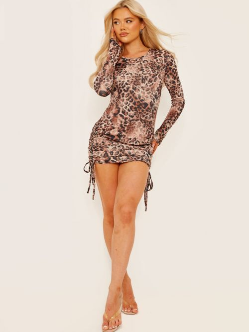 Olivia Long Sleeves Leopard Print Ribbed Ruched Dress In Brown