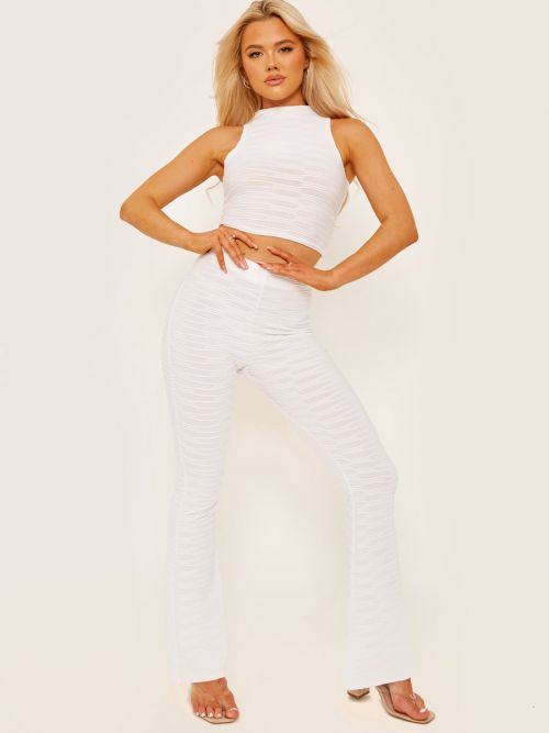 Joane Pleated Jersey Crop Top & Flared Trouser Co-ord In White