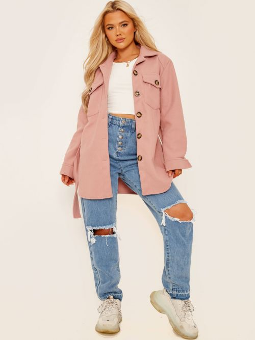 Alix Oversized Thick Belted Shacket In Rose
