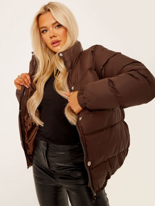 Allison Padded Puffer Jacket In Brown