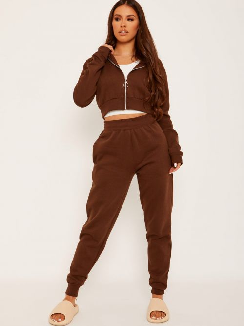 Tina Zip Hoodie & Jogger Co-ord In Chocolate