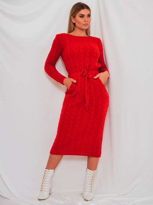 Leora Cable Knit Drawstring Waist Dress In Red