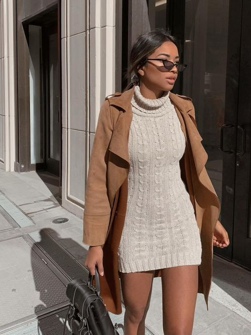 Connie Roll Neck Cable Knit Jumper Dress In Stone