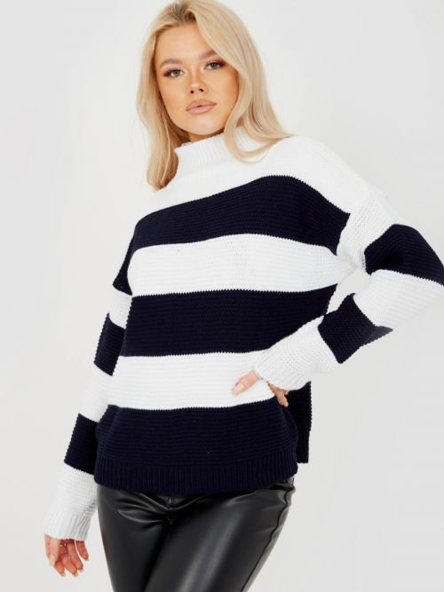 Alesia Funnel Neck Striped Knitted Jumper In Navy