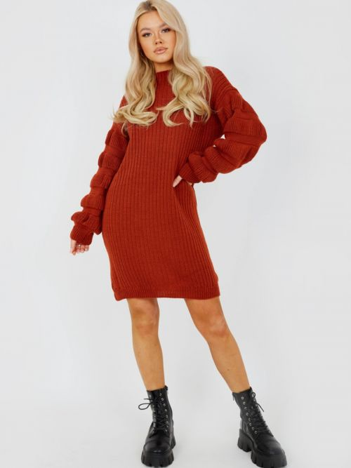 Elaine Bubble Sleeve Knitted Dress In Rust
