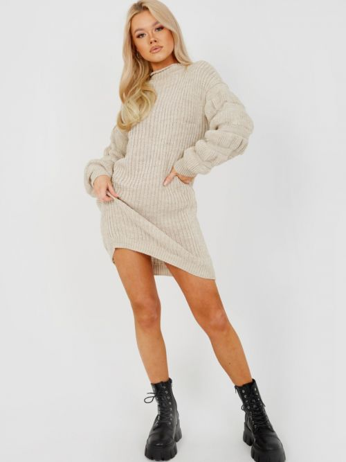 Elaine Bubble Sleeve Knitted Dress In Stone