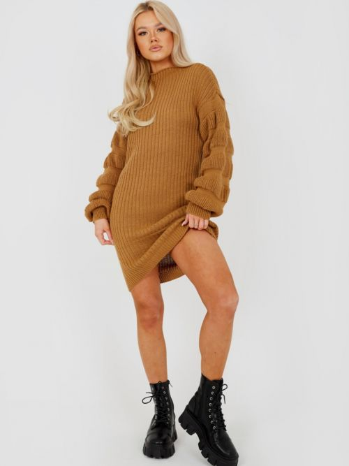 Elaine Bubble Sleeve Knitted Dress In Camel