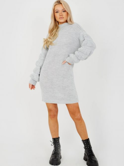 Elaine Bubble Sleeve Knitted Dress In Grey