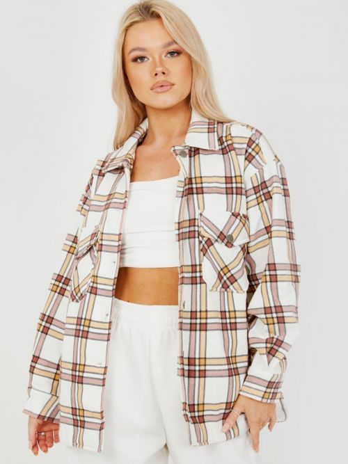 Colette Classic Thick Colour Block Shacket In Beige