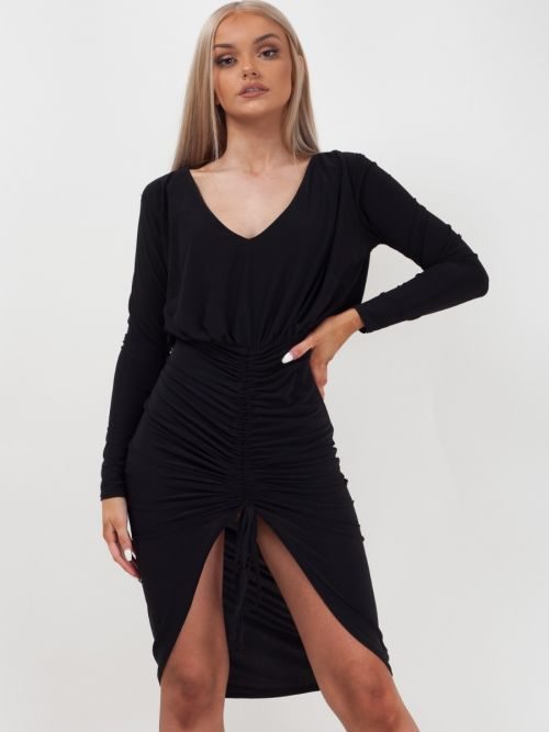 Hana Drawstring Ruched Front Bodycon Dress In Black