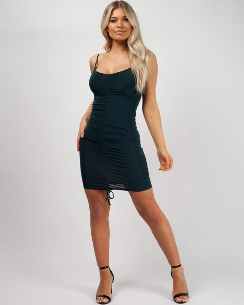 Ava Slinky Ruched Cami Dress in Jade