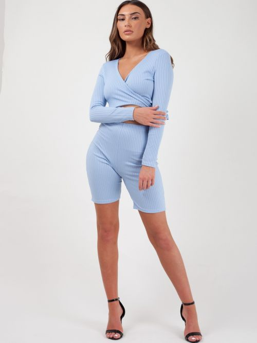 Lily Ribbed Crop Top & Cycling Shorts Co-ord In Blue