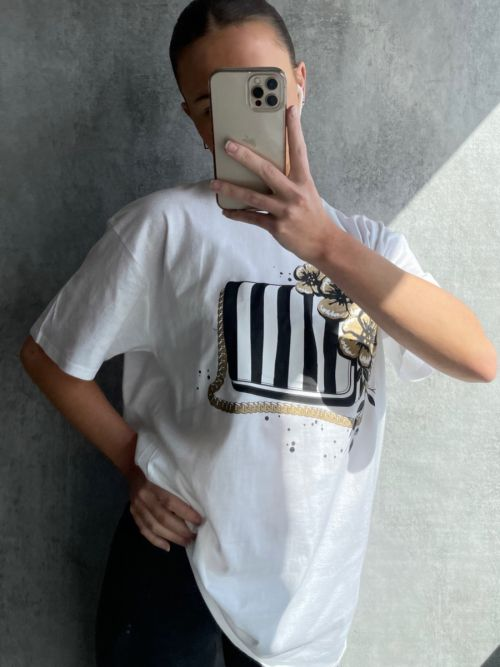 Pam Stripe Bag Graphic Printed T-Shirt In White