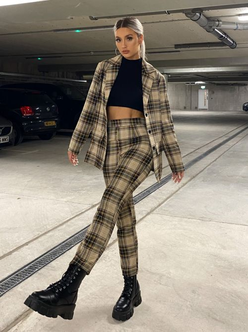Vall Check Trouser In Stone