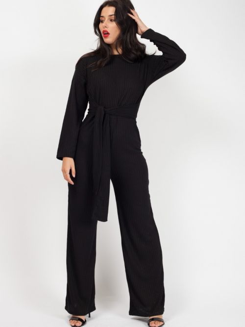 Hayli Ribbed Thin Knit Jumpsuit In Black