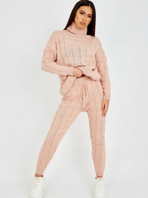Nicole Cable Knit Top & Trouser Co-ord With Pockets In Rose