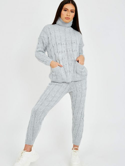 Nicole Cable Knit Top & Trouser Co-ord With Pockets In Grey