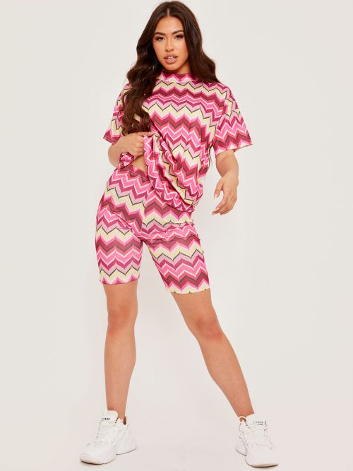 Toni Abstract Print Ribbed Oversized Top & Shorts Co-ord In Pink