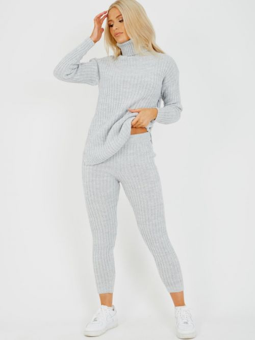 Louli New Roll Neck Knitted Top & Trouser Co-ord In Grey