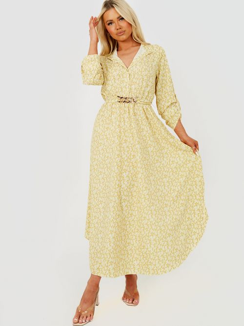 Erica Chain Detail Floral Print Maxi Dress In Yellow