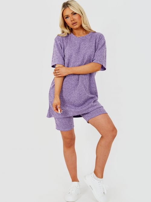 Melange Knit Oversized T-Shirt & Shorts Co-ord In Lilac
