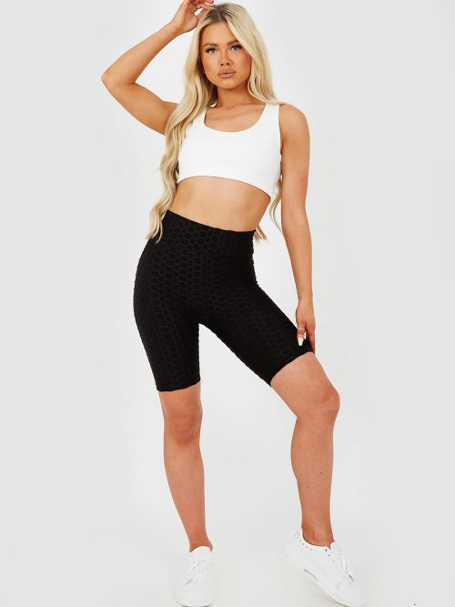 Asia Texture Detail Active-wear Cycling Shorts In Black