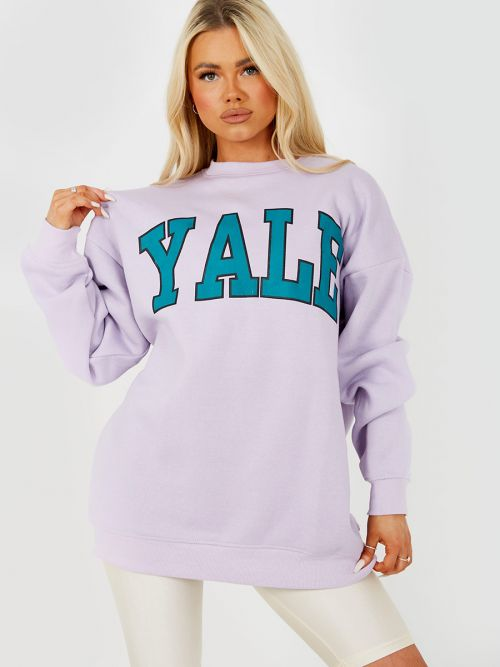 Nessy YALE Graphic Sweatshirt Jumper In Lilac