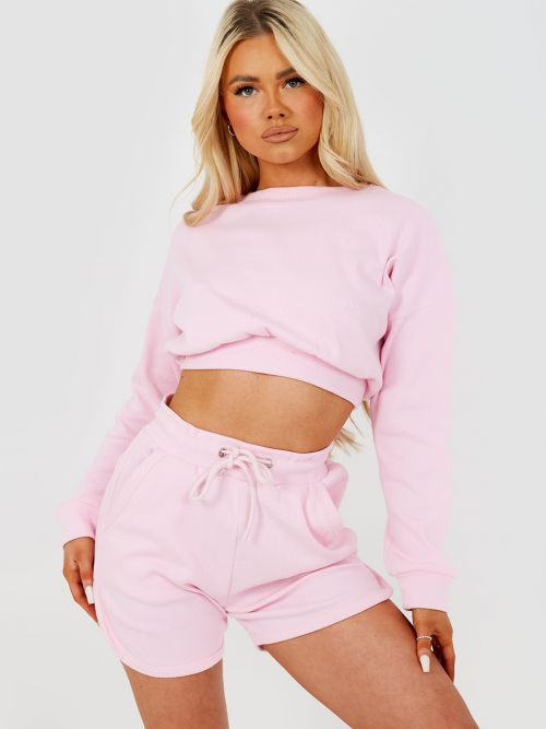 Levi Ribbed Crop Top & Shorts Co-ord In Pink